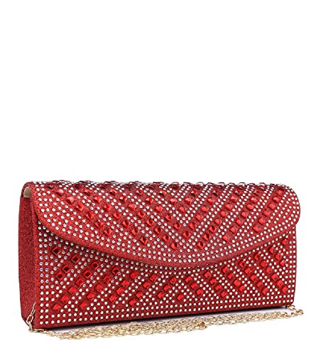 Ladies Handbag Envelope Clutch ME68038 Women's Diamante Glitter Party Purse Bag Red Evening rO8Znra5