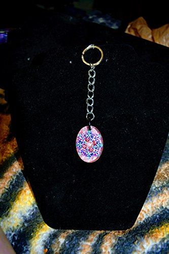 Oval Hand Painted Small Glass Pink Keychain With Natural Wooden ()