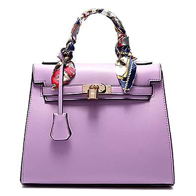 Women Handbags Satchel Bags Tote Purse with Padlock (Light Purple)