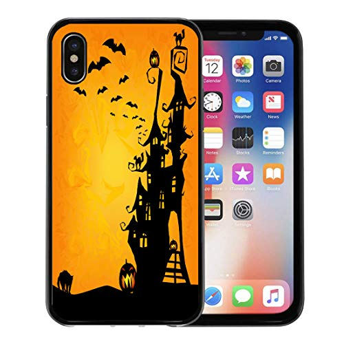 Semtomn Phone Case for Apple iPhone Xs case,House Halloween Spooky Castle Cats and Pumpkins Cute Haunted Clouds for iPhone X Case,Rubber Border Protective Case,Black -