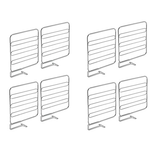 Shelf Dividers Set - mDesign Versatile Closet Shelf Divider and Separator for Storage and Organization in Bedroom, Bathroom, Kitchen and Office Shelves - Easy Install, Sturdy Wire Construction - Pack of 8, Chrome