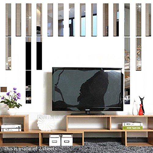 Funlife 10pcs Long Rectangle Bar Modern 3D Acrylic Wall Mirror Sticker Home Decoration Wall Border Decal Decor