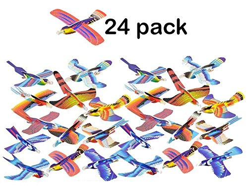 24 Pack Foam Bird Glider Plane Set 7 Inch, Assorted Colors And Styles - Make Your Own Flying Glider Bird - For Kids, DIY, Toys, Prize, Party Favor - By Kidsco