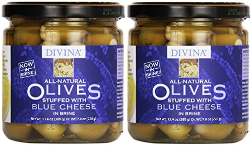Divina Green Olives Stuffed w/ Blue Cheese, 7.8 oz (Pack of 2)