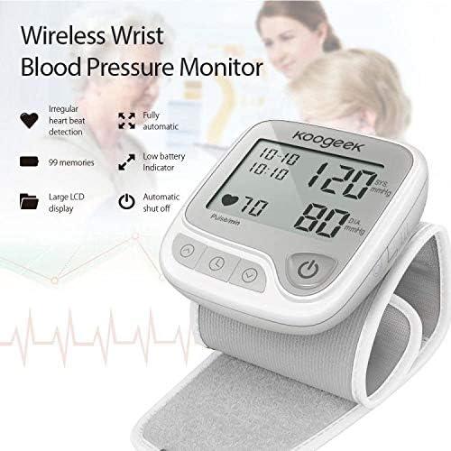 Koogeek Tensiómetro de Muñeca Digital, Monitor de Presión Arterial y Pulso de Frecuencia, Bluetooth Medir la Frecuencia Cardíaca, Función de Memoria, con Gran LCD pantalla, APP para IOS y Android