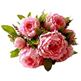 JAROWN Artificial Flowers Silk Peony Flower Bouquet For Wedding Home Decoration (Pink)