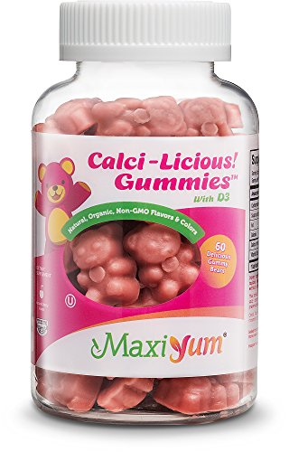 Calcium Gummies w/Vitamin D3 - Calci-Licious! by Maxi Health - 300 mg Coral Calcium and 1000 IU Vitamin D3, All Natural Easy-to-Chew Supplement(60 Pieces)