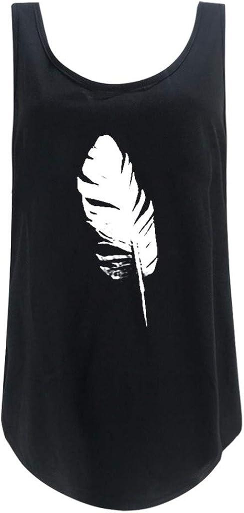MEIbax Camisetas Mujer Manga sin Top Corto Verano Blusa Mujer Sport Tops Mujer Camisetas Chaleco Mujer,Estampado de Gato,Hombro sin Tirantes,Adecuado con Jeans,Leggings etc.