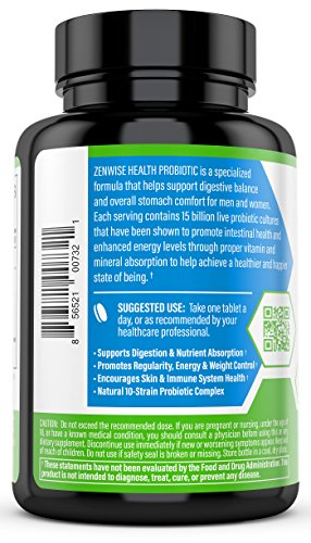 Extra Strength Probiotic - Dietary Digestive Supplement for Men, Women and Kids - Lactobacillus and Bifidobacterium for Gas, Bloating and Immune System Support - 60 Vegetarian Tablets