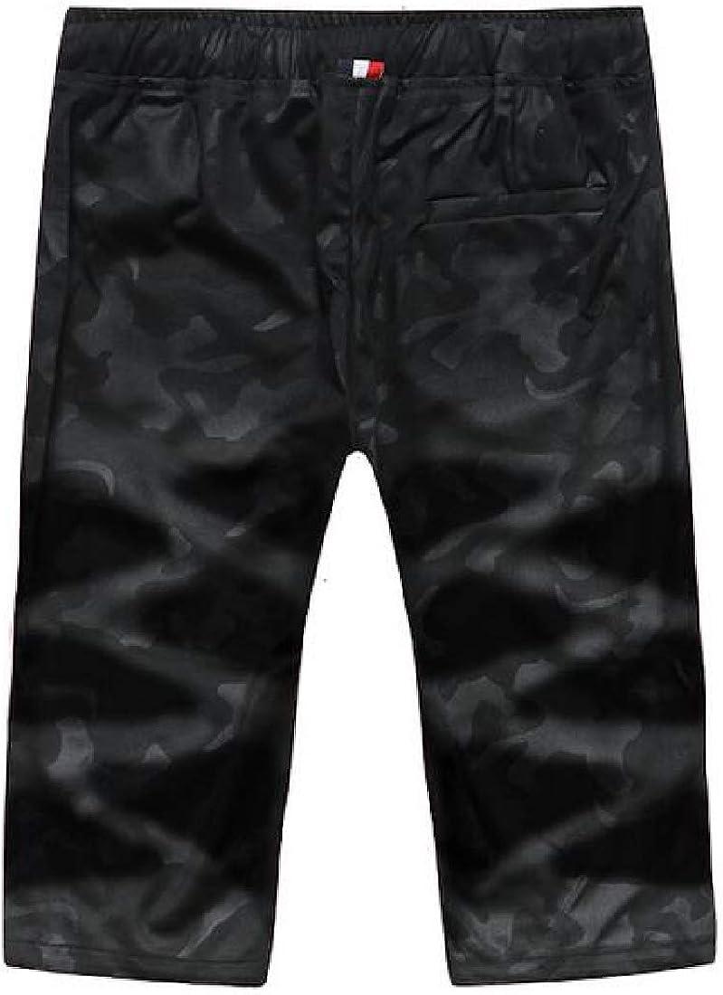UUYUK Men Straight Leg Elastic Waist Flat-Front Camo Summer Casual Shorts