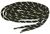 90 Inch BLACK w/ Yellow Kevlar Reinforced Large Diameter 137 Cm X 6mm Boot Laces Shoelaces - 2 Pair Pack