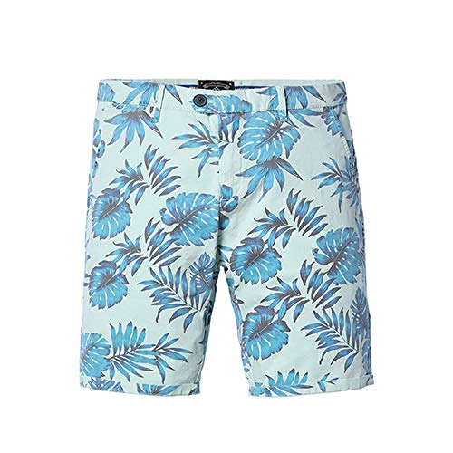 Floral Hawaii Shorts Men Slim Fit Fashion Print Plus Size,Light Green,32 ()