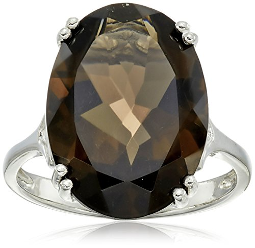 Sterling Silver 18x13mm Oval Smoky Quartz Ring, Size 9