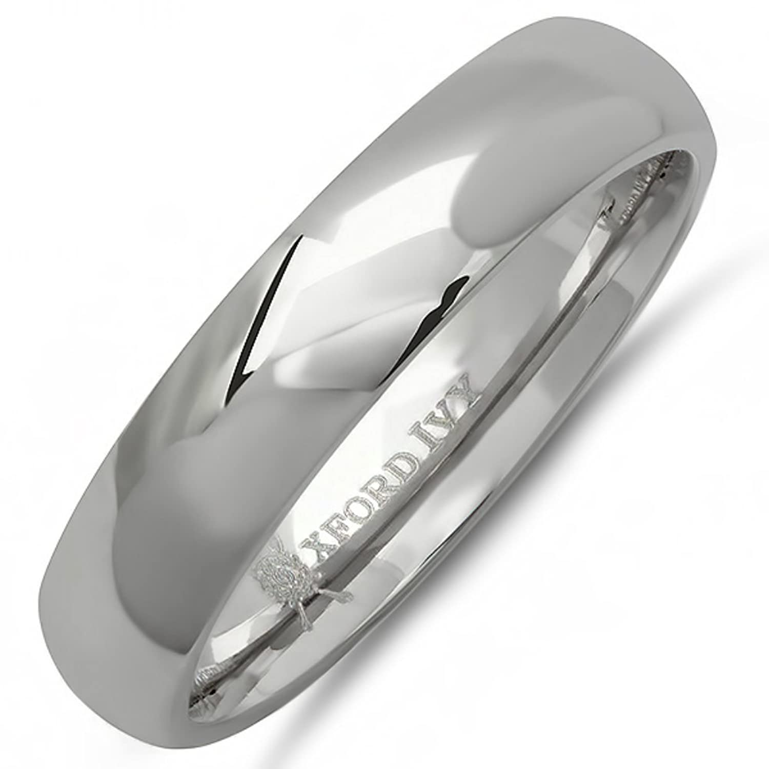 Oxford Ivy 5mm Mens Plain Comfort Fit Titanium Wedding Band Available Ring Sizes 7 12 1 2