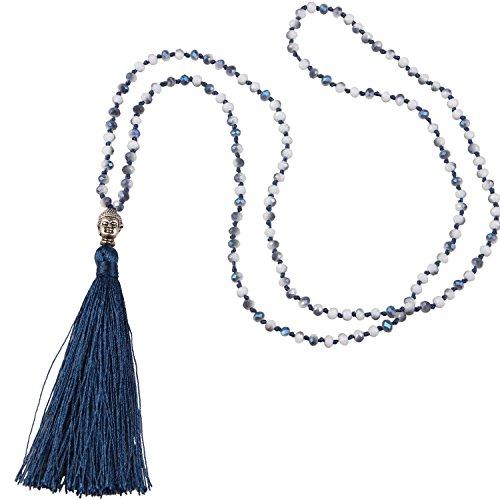 Crystal Necklace Buddha Tassel Pendant
