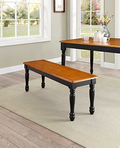 NEW Autumn Lane Farmhouse Bench, Black and Oak by Better Homes & Gardens