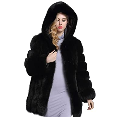 Black faux fur coat amazon