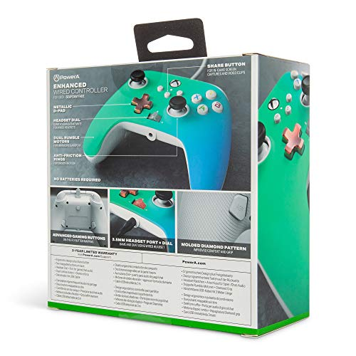 PowerA Enhanced Wired Controller for Xbox – Seafoam Fade, Gamepad, Wired Video Game Controller, Gaming Controller, Xbox Series X|S, Xbox One – Xbox Series X (Only at Amazon) 51x 2BLpDNs3L