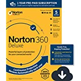 NEW Norton 360 Deluxe – Antivirus software for 5 Devices, with VPN, Cloud Backup & Dark Web Monitoring powered by LifeLock, Renews automatically for uninterrupted protection [PC/Mac/Mobile Download]