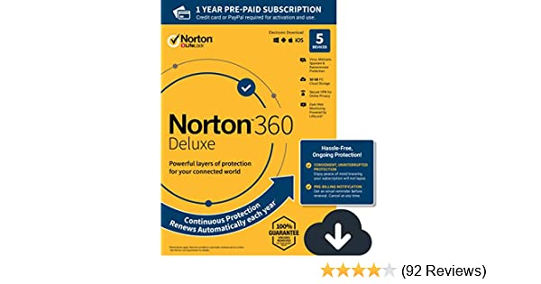NEW Norton 360 Deluxe – Antivirus software for 5 Devices with Auto Renewal  - Includes VPN, PC Cloud Backup & Dark Web Monitoring powered by LifeLock