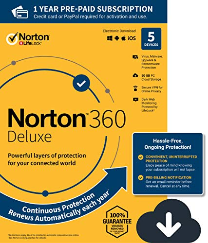 NEW Norton 360 Deluxe - Antivirus software for 5 Devices with Auto Renewal - Includes VPN, PC Cloud Backup & Dark Web Monitoring powered by LifeLock [PC/Mac/Mobile Download]