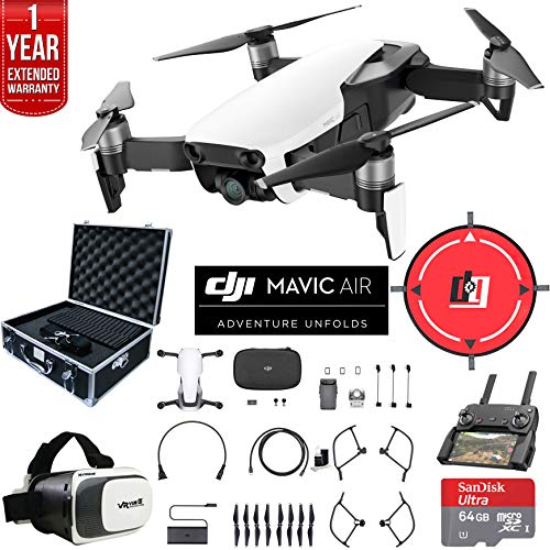 DJI Mavic Air (Arctic White) Drone Combo 4K Wi-Fi Quadcopter with Remote Controller Deluxe Fly Bundle with Hard Case VR Goggles Landing Pad 64GB microSDXC Card and 1 Year Warranty Extension