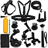 LotFancy 13-in-1 Sports Accessories Kit Bundle Attachments for Gopro Hero 5 4 3 2 1 SJ4000 SJ5000 HD Action Video Cameras DVR