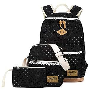 Mygreen Canvas Dot Backpack Cute Lightweight Teen Girls Backpacks School Shoulder Bags 3 in 1 Set - Black