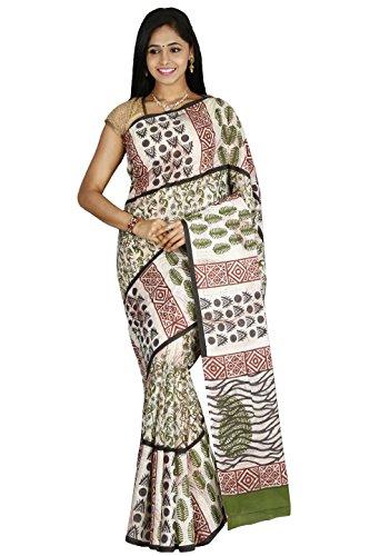 Mehandi Green and Black Print Fashion Kiosks Saree with Blouse
