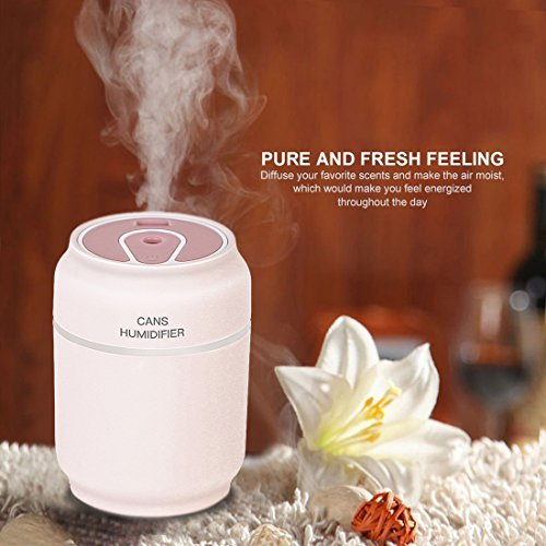 Price comparison product image Cool Mist Humidifier,Sysmart Ultrasonic Small Can Humidifier,Air Aromatherapy Car Humidifier with Auto Shut off Safety Protection for Vehicle Office Home Bedroom Living Room Study Yoga Spa (Pink)