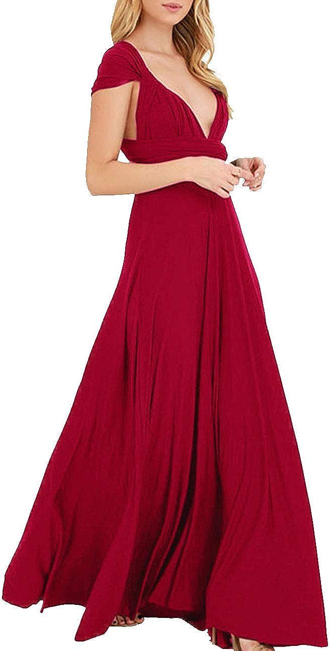 TALLA S. EMMA Mujeres Falda Larga de Cóctel Vestido de Noche Dama de Honor Elegante sin Respaldo Rojo Vino S