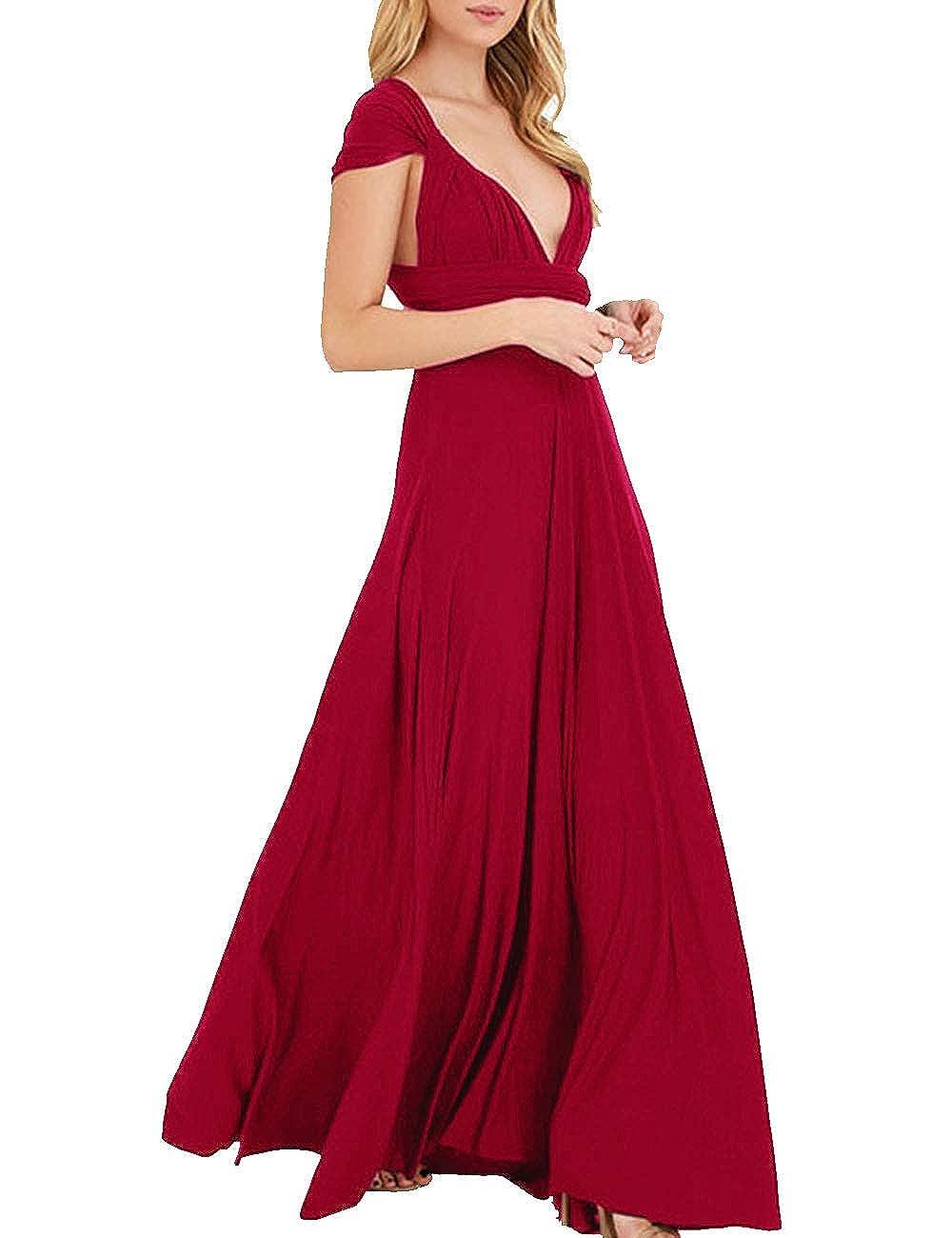 TALLA XL. EMMA Mujeres Falda Larga de Cóctel Vestido de Noche Dama de Honor Elegante sin Respaldo Rojo Vino XL