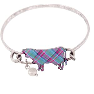 Emulily Plaid Print Pig Bangle Bar Wire Bracelet with Pearl Charm