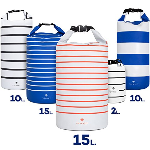 Dry Bag - Waterproof, Floating, 10L and 15L - Best Outdoor Protection for Camping, Kayaking, Hiking, Beach, Canoeing, Boating, Travel - White Striped Sack for Men & Women, Dirt-, Sand-, Dust-Proof