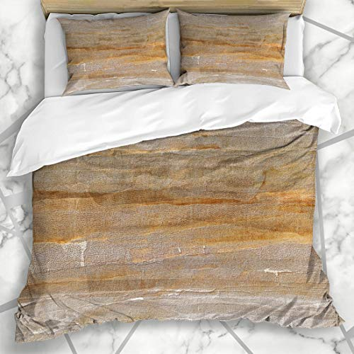 (Ahawoso Duvet Cover Sets Queen/Full 90x90 Dry Brown Tone Light Earth Color Abstract Space Orange Sepia Dirt Dirty Earthy Design Grunge Microfiber Bedding with 2 Pillow Shams)