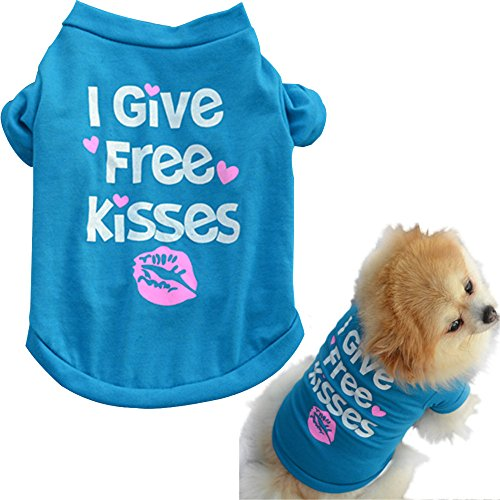 Alalaso Pet Breathable T Shirt Puppy Dog Cat Summer Shirt Letter Printed Vest I GIVE Free Kisses (Blue ,S)