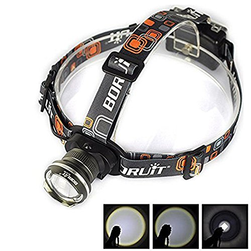 Welltop CREE XM-L XML Adjustable Beam Headlamps T6 LED 1800Lm Zoom Headlight Flashlight Head Lamp Torch Head Light Aluminum Alloy Casing for Hunting Camping Fishing Hiking Cycling (Black)