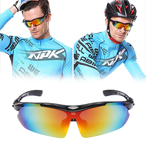 Polarized Sports Sunglasses, Elongdi Sports Cycling Sunglasses with 5 Interchangeable Lenses, TR90 Unbreakable Frame and 100% UV400 protection - Lenses Oakley Changeable Sunglasses