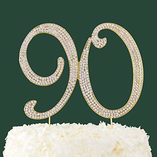 LOVENJOY With Gift Box Rhinestone 90 Cake Topper For 90th Birthday Party Supplies Gold 57 X 45