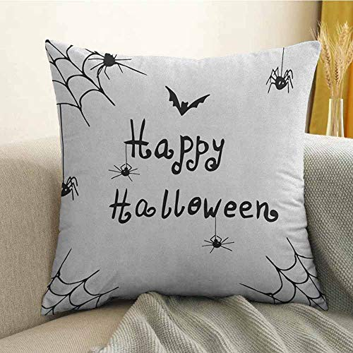 FreeKite Spider Web Bedding Soft Pillowcase Happy Halloween Celebration Monochrome Hand Drawn Style Creepy Doodle Artwork Hypoallergenic Pillowcase W16 x L16 Inch Black White -