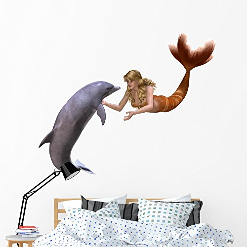 Cheap  Wallmonkeys Dolphin and Mermaid Wall Decal Peel and Stick Graphic (60 in..