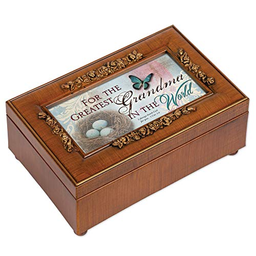 Embossed Box - Cottage Garden Greatest Grandma in World Woodgrain Embossed Jewelry Music Box Plays Amazing Grace