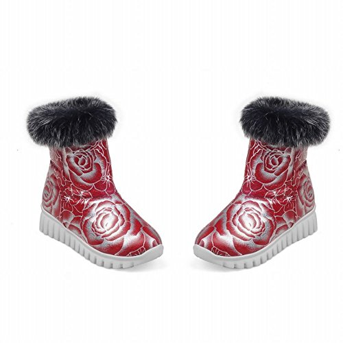 Charme Voet Dames Faux Fur Lage Hak Warme Korte Snowboots Rood