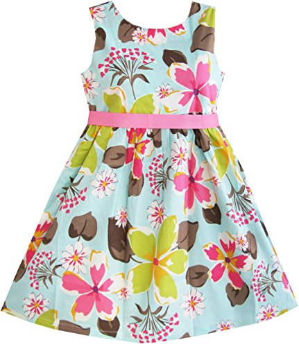 Sunny Fashion Girls Dress Blue Flower Print Size 7-8