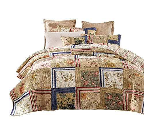 Tache 5 Pc Exotic Cotton Japanese Emperor's Garden Reversible Patchwork Bedspread Quilt Set, Full