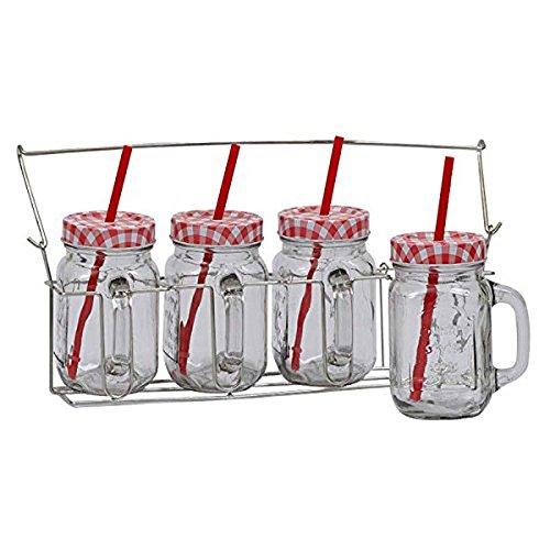 Design Imports Red White Gingham Lid Glass Mason Jars Dri...