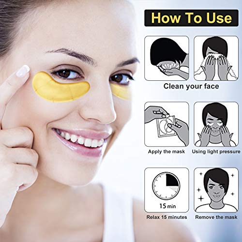 51x%2BP1hwlcL - Under Eye Patches, POPPYO 24K Gold Eye Treatment Mask, Collagen Eye Mask, with Anti-aging and Wrinkle Care Properties, Reducing Dark Circles Puffiness Undereye Bags(30 Pairs)