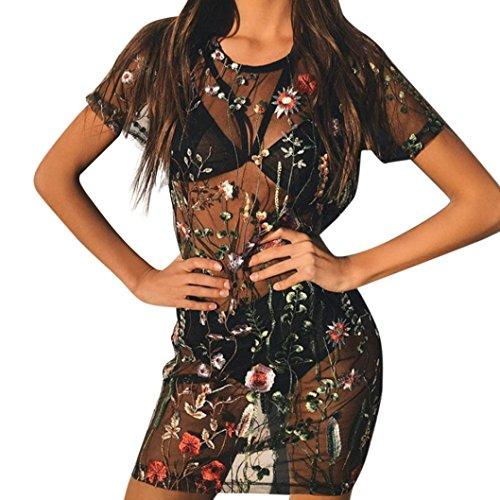 Kleid mini Damen Kolylong® Frau Mode Blumen Stickerei Perspektive ...