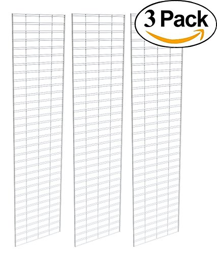 Econoco Commerical Slatgrid Panels, 2' Width x 8' Height, White (Pack of 3)