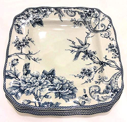 Plate Toile Porcelain (222 Fifth Adelaide Blue French Toile Square Dinner Plates | Set of 4 | Fine China Porcelain)